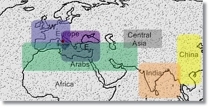 main civilizational areas at work in the geopolitics from 400 A.D. to 1000 A.D.